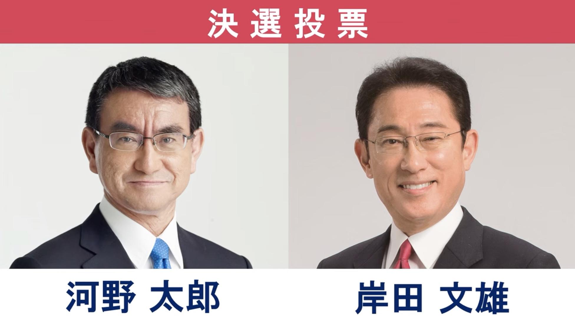 自民黨總裁選舉,由於四位參選人得票均未過半,由得票最高的兩人—岸田文雄與河野太郎—進入第二輪投票決選。