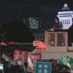 反安保示威》4.5萬人夜圍國會 大江健三郎警告和平日本恐不復存在
