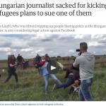 匈牙利踢人姊》不滿遭辱罵 揚言對難民與Facebook提告