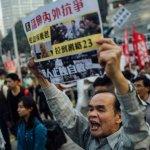 香港元旦遊行要求梁振英下台 人數不及預期