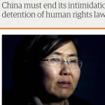 國際法律學者呼籲釋放維權律師 中共黨媒:不能任由西方價值衝擊中國法治