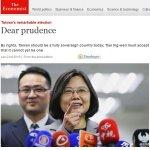 《經濟學人》:盼蔡英文正視台灣事實獨立不等同法理獨立