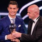 葡萄牙球星C羅贏得國際足總年度最佳球員獎