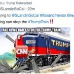美國總統轉發「川普號」火車撞CNN的圖片 白宮:不小心的啦!
