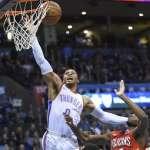 NBA》威少搶籃板扭傷腳踝 X光檢查無大礙