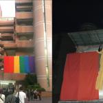 學生力挺婚姻平權被關切 世新巨幅彩虹旗拆了!