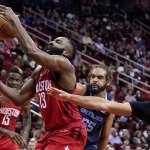NBA》連續8場35分5助攻 哈登超越傳奇球星「大O」