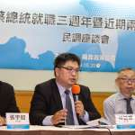 兩岸政策協會民調》蔡英文就職3周年 57%民眾滿意她維護台灣主權