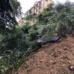 汐止秀山路邊坡滑落進行搶通 警協助交管維持警戒
