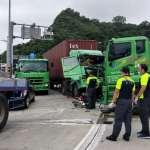 匝道出口貨櫃車追撞 一名司機受困