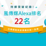 持續突破紀錄!風傳媒Alexa排名前進至22名