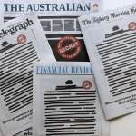 不滿政府伸手干預新聞自由 澳洲媒體聯合「抹黑」頭版抗議