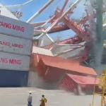 影片曝光》貨櫃輪撞起重機、多貨櫃從天而降...高雄港發生重大意外!2人受困1人送醫