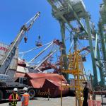 貨櫃船於高雄港內偏航造成起重機倒塌 已由相關單位著手調查