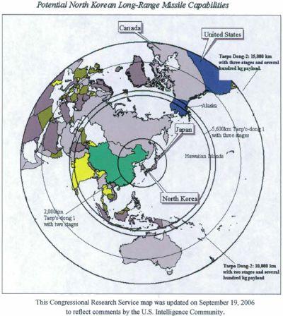 北韓各式彈道飛彈的射程範圍。(維基百科)