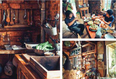 (左)  廚房可以看見磚造的牆 面和各式廚具。
