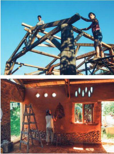 (上)  搭建房子的樑柱,多以二手木材為主要原料。 (下) 代賢在屋內牆上敲出形狀,以利後續牆上的裝飾使用。