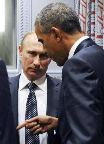 歐巴馬與普京 2015聯合國大會。(美聯社)