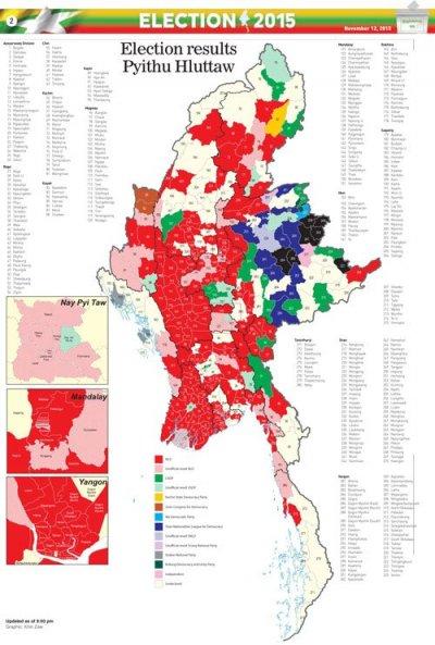 截至11月12日,緬甸大選的最新結果。紅色部分是全民盟、綠色部分是鞏發黨、淺黃色是尚未開出結果。(緬甸時報)