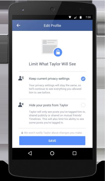 臉書新工具:限制前任情人權限(Facebook)