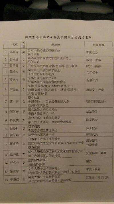 親民黨公布不分區名單。.JPG