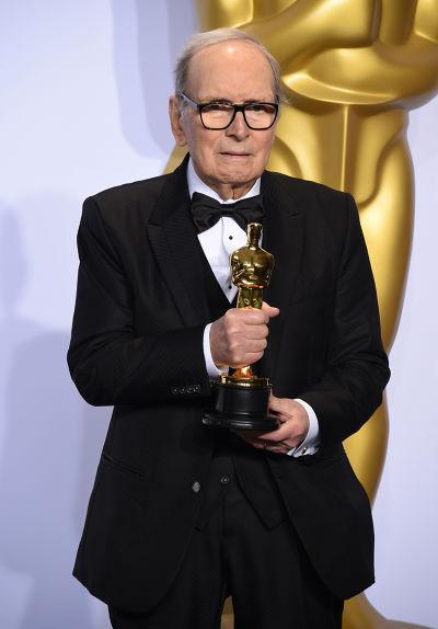 義大利國寶級作曲家、電影配樂大師顏尼歐.莫利克奈(Ennio Morricone)獲獎(美聯社)