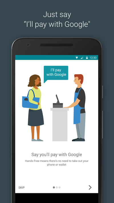 Google的全新支付工具Hands Free,強調全程無須拿出手機。