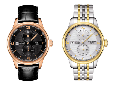 Le Locle Regulateur真皮錶帶蝴蝶扣腕錶(左)及黃金PVD雙色錶殼腕錶(右),增添優雅丰采。(圖/TISSOT提供)