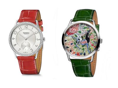 Slim d'Hermès 腕錶和Mille Fleurs 微繪工藝腕錶,賦予時間賞心悅目的節奏。(圖/愛馬仕提供)