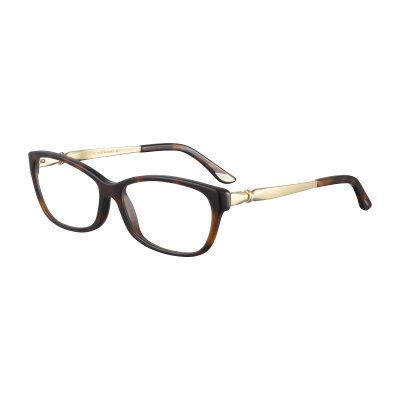 Lady Trinity 光學眼鏡鏡框,鏡腳飾有鍍金Cartier標誌。(圖/Cartier提供)