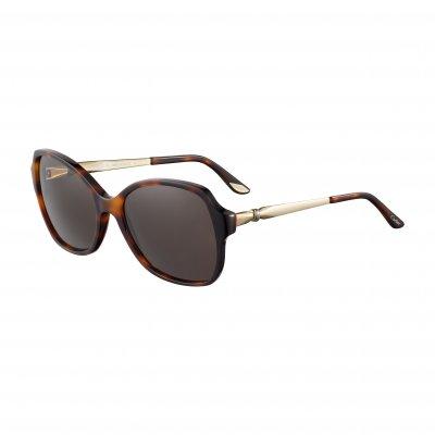 卡地亞Lady Trinity系列太陽眼鏡,側面三環為光滑的三色鍍金。(圖/Cartier提供)