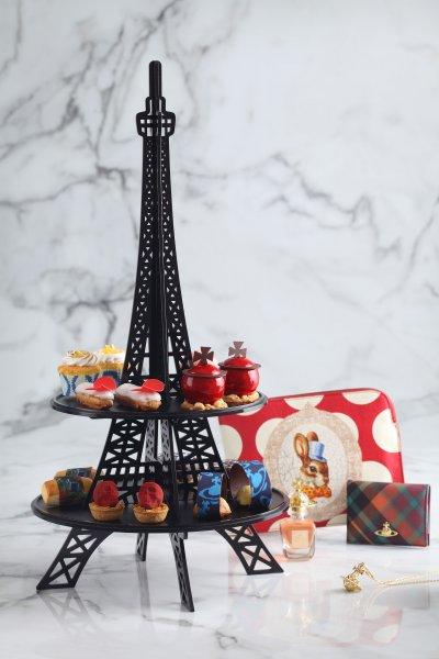 甜點以精品般的耀眼姿態,陳列於優雅的巴黎鐵塔架上。(圖/台北寒舍艾美酒店提供)