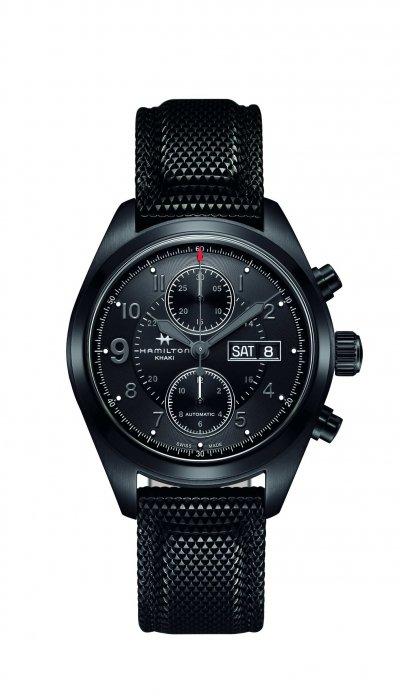 Hamilton Khaki Field卡其野戰系列Auto Chrono自動計時腕錶,錶徑42毫米,具備100米防水性能。(圖/Hamilton提供)