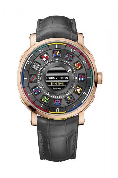 Louis Vuitton Escale Spin Time腕錶共有12個支撐方塊的軸心,其中兩個會同時旋轉,藉此顯示小時。(圖/Louis Vuitton提供)