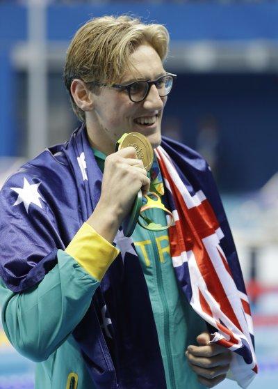 贏得奧運男子400公尺自由式金牌的澳洲泳將何頓(Mack Horton)。(美聯社)