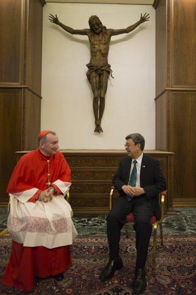 副總統陳建仁會晤教廷國務院長帕羅林樞機主教(Pietro Parolin)(總統府)