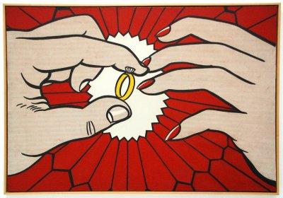 圓圓戒台加上突出鑽石的造型,成為經典的戒指意像,圖為美國普普藝術家羅伊·利希滕斯坦之作。(圖/GautierPoupeau@flickr)
