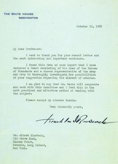 小羅斯福給愛因斯坦的回信。(圖/維基百科公有領域)