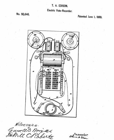 愛迪生的電子投票計數器設計圖。(圖/美國專利商標局)