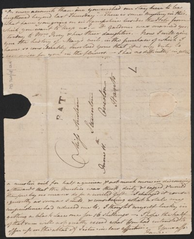 珍.奧斯汀寫給姐姐的信(Wikipedia/Public Domain)