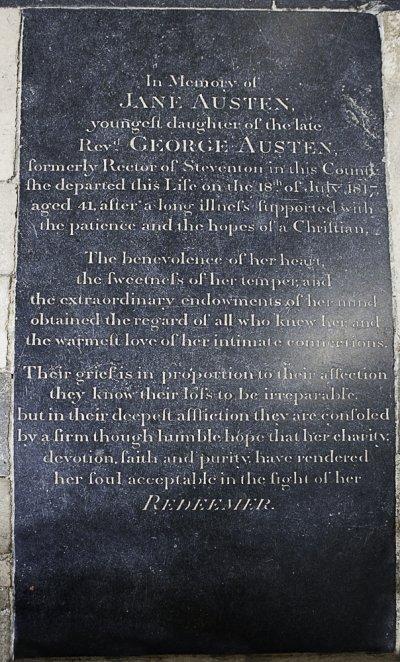 溫徹斯特大教堂裡紀念珍.奧斯汀的碑文(Antony McCallum@Wikipedia/CC BY-SA 3.0)