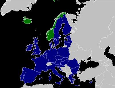 歐洲經濟區成員地圖。(圖/維基百科公有領域)