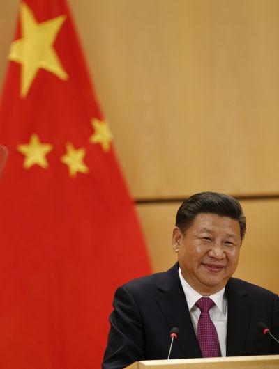 中國國家主席習近平18日在聯合國日內瓦總部萬國宮演講(AP)