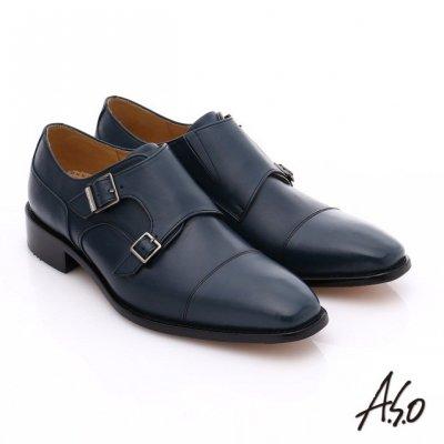 A.S.O雙釦孟克鞋採用小牛皮鞋面,毛細孔細緻,質地柔軟滑順。(圖/A.S.O提供)