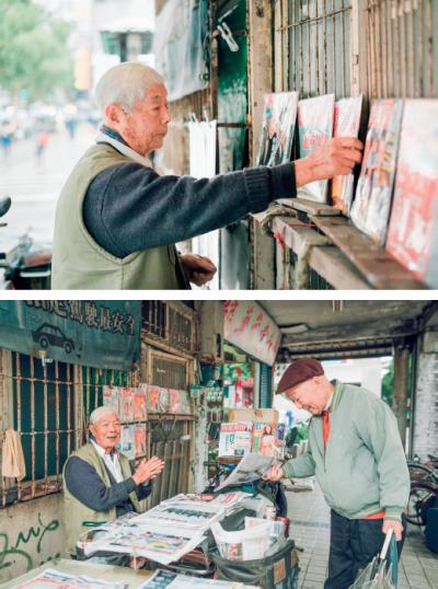1. 每週一董爺爺會提早在中午12點收攤,去九華山拜拜。2. 很多老主顧跟董爺爺買了三、四十多年的報紙,都變成了老朋友。(圖/小日子提供)
