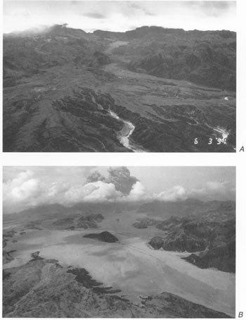 皮納土波火山爆發前(上)、爆發後比較圖。(維基百科公有領域)