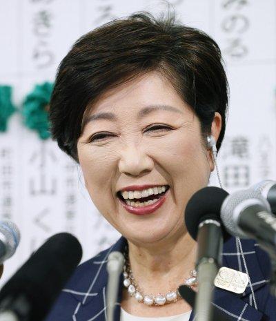 小池今日子的新政黨在東京都議會選舉取得大勝。(美聯社)