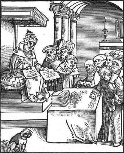 16世紀一幅關於教會販賣贖罪券的畫作。胡斯戰爭。(維基百科公有領域)