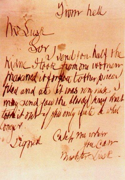 「來自地獄」信被認為很可能是凶手親筆寫的信(Wikipedia/Public Domain)