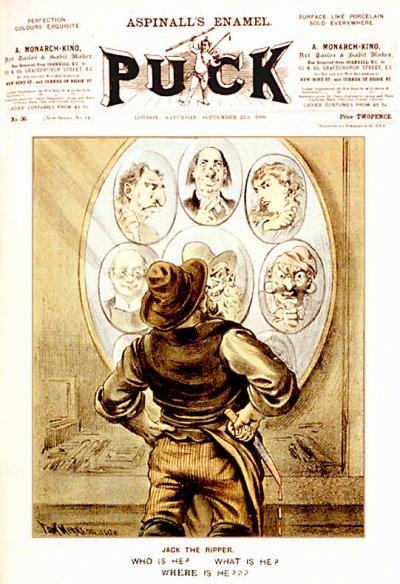 1889年9月21日《Puck》雜誌刊登的一幅插畫,描述當時始終無法找出開膛手傑克真實身份的情況(Wikipedia/Public Domain)